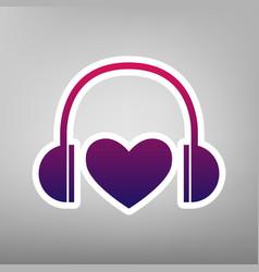 Headphones with heart purple gradient vector