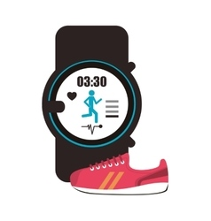 Heart rate wrist monitor and sneaker icon vector