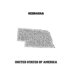 Label with map of nebraska vector