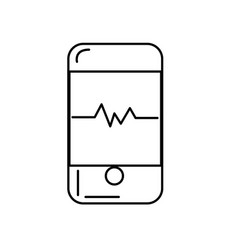 Line technology smartphone with cardiac rhythm vector