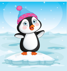 of baby penguin standing on ic vector image