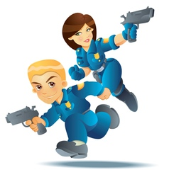police officer in action vector image vector image