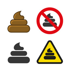 Poo icon and sign set vector