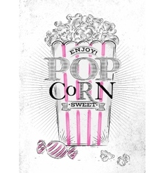 Poster popcorn sweet vector image