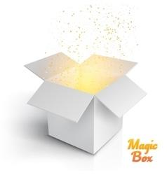 Realistic Magic Open Box Magic Box with Confetti vector image vector image