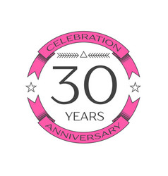 realistic thirty years anniversary celebration vector image vector image