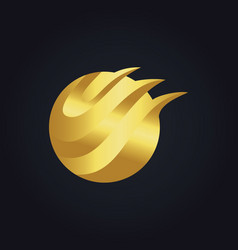 Round abstract wave technology gold logo vector