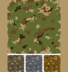 seamless military camouflage set vector image vector image