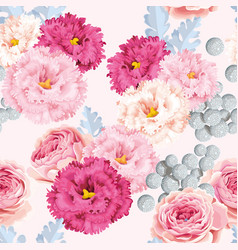 seamless pattern with eustoma and roses vector image