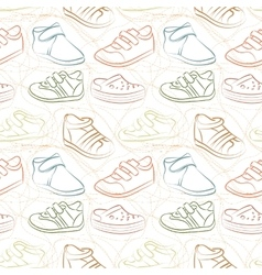 seamless set of baby shoes vector image vector image