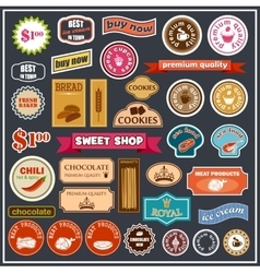 Set of labels and stickers for food vector image vector image