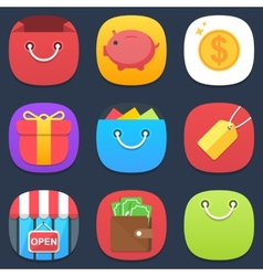 Set of shop mobile icons in flat design vector image vector image