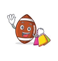 Shopping american football character cartoon vector