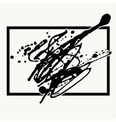 Splatter black ink background in frame vector