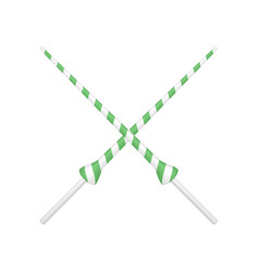 two crossed lances in green and white design vector image vector image