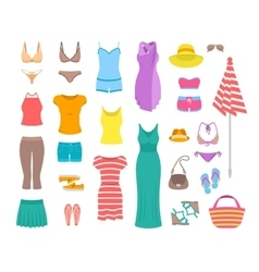 Women casual summer clothes and accessories flat vector