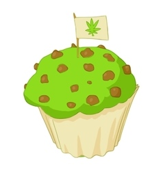 Muffin with marijuana icon cartoon style vector image