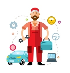 Car mechanic flat style colorful cartoon vector