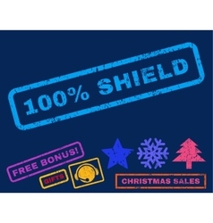 100 percent shield rubber stamp vector