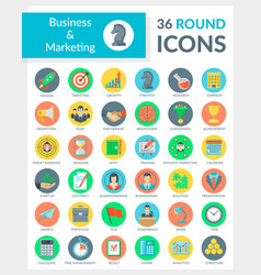 Business and marketing round icons vector