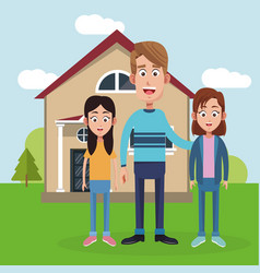 father daughter friend near house vector image