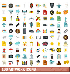 100 artwork icons set flat style vector