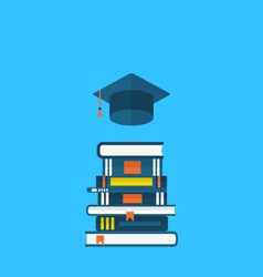 Flat icons of graduation cap and heap textbooks vector
