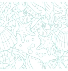 Outline doodle sea seamless pattern with starfish vector