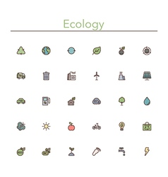 Ecology colored line icons vector