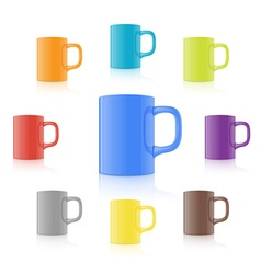 Set of realistic mug vector