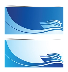 Yacht boat banner2 vector