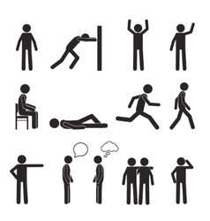 Man posture pictogram icons set human body action vector