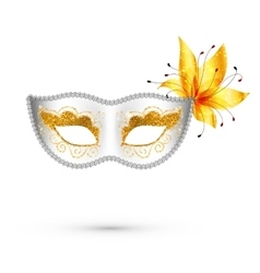 White carnival mask with yellow flower vector