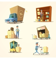 Warehouse retro cartoon set vector