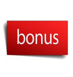 Bonus red paper sign isolated on white vector