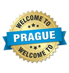 Prague 3d gold badge with blue ribbon vector image