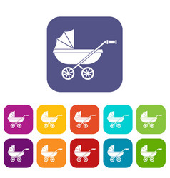 Baby carriage icons set flat vector