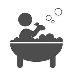 Baby takes a bath with rubber duck pictogram flat vector image vector image