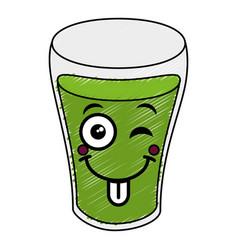 Beer green saint patrick icon kawaii character vector