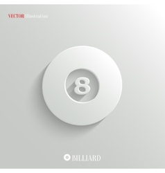 Billiard icon - white app button vector image vector image