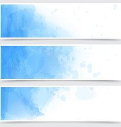 Blue watercolor abstract banners vector