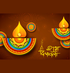 burning diya on diwali holiday background for vector image vector image