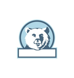 California grizzly bear head smiling circle retro vector