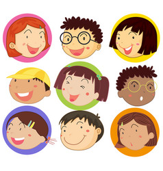 children with happy face on round badges vector image vector image