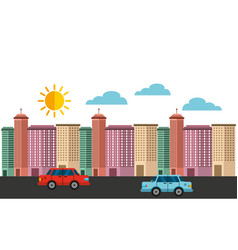 Cityscape buildings skyline background vector