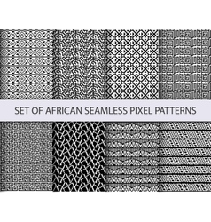 Collection of pixel seamless patterns vector image vector image