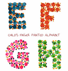 Colorful funny paint alphabet efgh letters vector