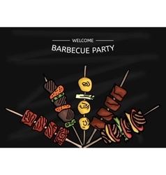Colorful of a BBQ party on the vector image vector image