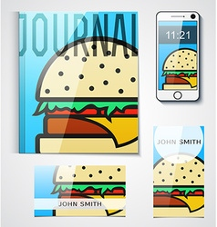 Design of branded products from burger to the vector image