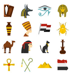 Egypt travel items icons set in flat style vector